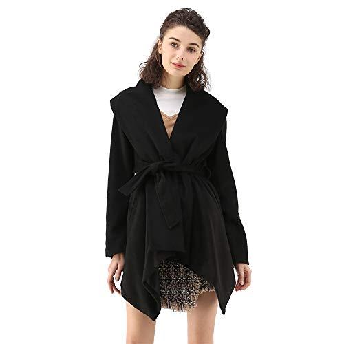 (Chicwish Women's Turn Down Shawl Collar Open Front Long Sleeve Black Asymmetric Hemline Wool Blend Coat)