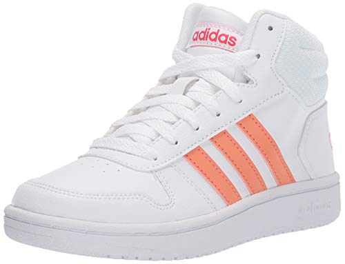 adidas Unisex-Kid's Hoops Mid 2.0 Sneaker, White/semi Coral/Real Pink, 4 M US Big Kid (The Best Cheap Basketball Shoes)