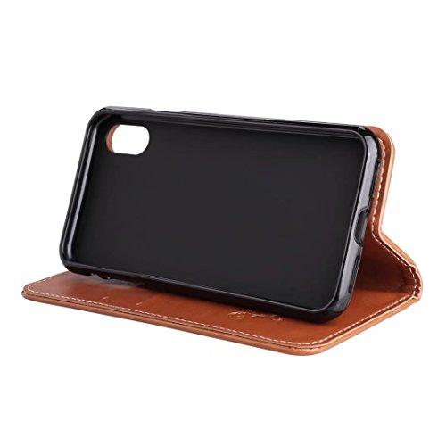 COWX iPhone X Hülle Kunstleder Tasche Flip im Bookstyle Klapphülle mit Weiche Silikon Handyhalter PU Lederhülle für Apple iPhone X Tasche Brieftasche Schutzhülle für iPhone X schutzhülle 6Um1YCdvt