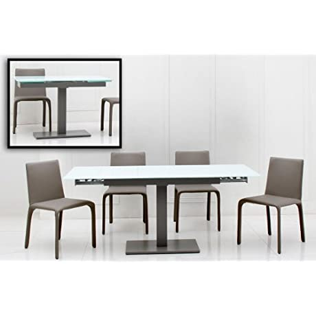 VIG Furniture Modrest Taste Collection Modern Rectangular Glass Top Dining Table With Grey Solid Base For Support And Smooth Extending Mechanism White Grey