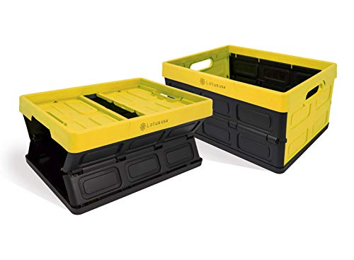 Lotus USA Fold-It Foldable Stackable Hardside Storage Crate, 33 Quart (Yellow, 2-Pack) (Quart 33)