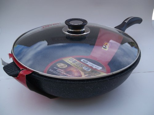 Ceramic Marble Coated Non Stick Cast Aluminium Wok with Lid, 34 cm (13 - Stir Fry 13 Inch Pan