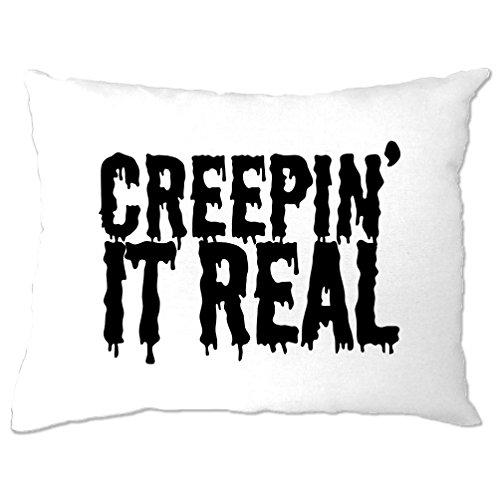 Creepin' It Real Halloween Slogan Pun Funny Creepy Pillow (Mens Halloween Costume Ideas Last Minutes)