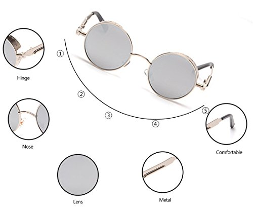 GAMT Retro Gothic STEAMPUNK Round Sunglasses Metal Frame Mirrored Circle Lens 5