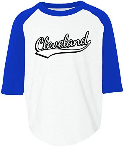 Amdesco Cleveland, Ohio Toddler Raglan Shirt, White/Royal 2T/3T