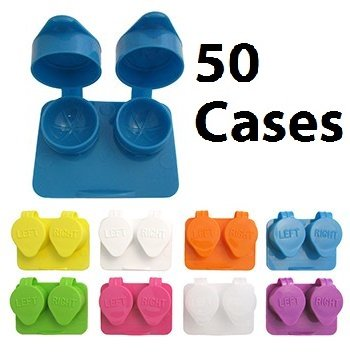 Deep Well Flip-top Contact Lens Cases Bulk Pack of 50 Assorted Colors]()