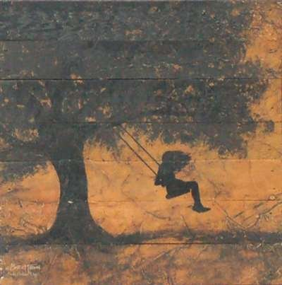 Artistic Reflections 10″ Girl on a Tree Swing Distressed Wood Box Art