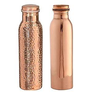 Copper Art Copper Water Bottle, 1000ml, Set of 2, Brown