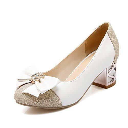 VogueZone009 Damen Rund Zehe Ziehen auf Blend-Materialien Pumps Schuhe mit Schleife, Weiß, 40