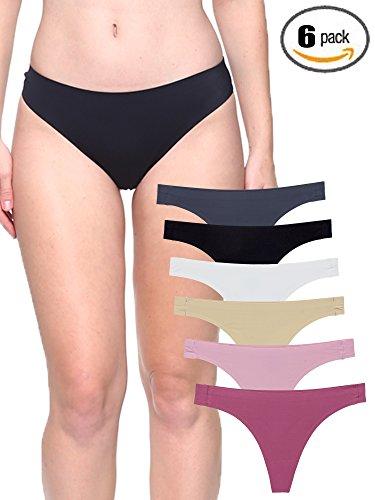Seamless Thong Underwear - Barbra's 6 Pack Invisible No-Show Thong Seamless Bamboo Gusset Panties (Medium, Sports Thong)