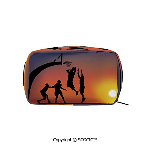 - Rectangle Printed Beauty Cosmetic Bag Pouch Boys Playing Basketball at Sunset Horizon Sky Dramatic Scene Decorative Women fashion Toiletry Travel Bag