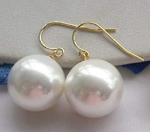 Real White Round South Sea Shell Pearl Dangle Earrings (16mm)