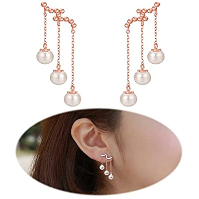 Ear Drop Dangle Earrings Crawler Chandelier Climber Ear Wrap Pin Vine Tassel Imitation Pearl Cute Jewelry