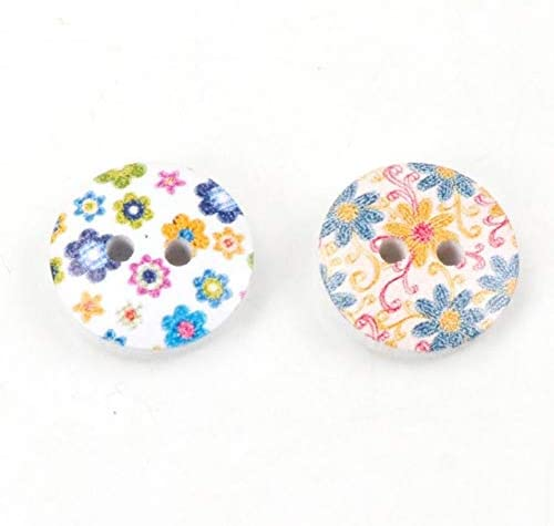 Yitang 縫製スクラップブッキング工芸DIYの装飾のための30個の15ミリメートル2穴ミックスフラワーエコフレンドリーラウンドナチュラル木製の装飾的なボタン罰金以上のファッション