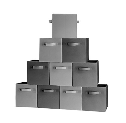 ( 10-Pack, 5 Grey 5 Black) Storage Bins, Containers, Boxes, Tote, Baskets| Collapsible Storage Cubes For Household Organization | Fresh Jumbo Fabric & Cardboard| | (5 Black, 5 Grey, 10) (Overhead Storage Bins)