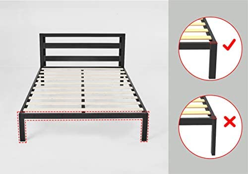 Amazon Basics Metal Bed with Modern Industrial Design Headboard – 14 Inch Height for Under-Bed Storage – Wood Slats – Easy Assemble, Queen 41WAPD8 mxL