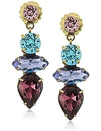 Multi-Cut Synthetic Crystal Statement Drop Earrings
