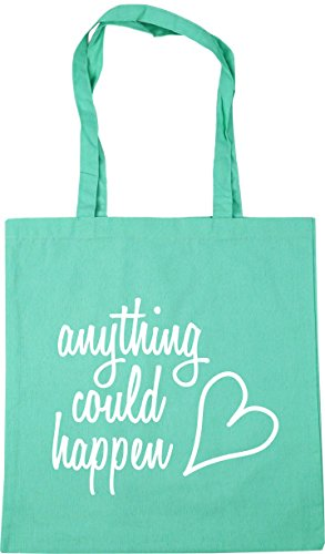HippoWarehouse Anything could happen Tote Shopping Gym Beach Bag 42cm x38cm, 10 litres Mint