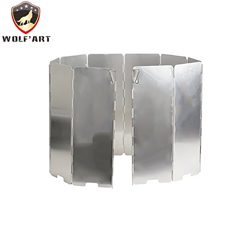 Aluminum windscreen by Wolf'art 10 Plates folding camping picnic cooker stove and other backpacking stoves windshield For Sale