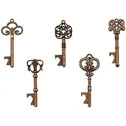 Key Bottle Openers - Assorted Vintage Skeleton Keys, Wedding Party Favors (Pack of 25, Copper)