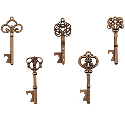 Key Bottle Openers - Assorted Vintage Skeleton Keys, Wedding Party Favors (Pack of 25, Copper) (Keychains You Thank Wedding)