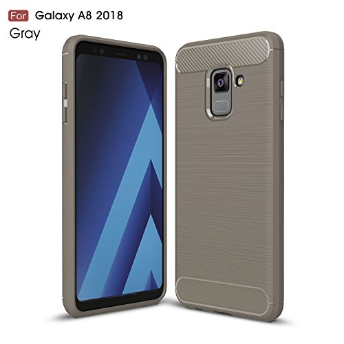 Funda para Samsung Galaxy A8 2018 , IJIA Gris TPU Silicona La fibra de Carbono Suave Cover Tapa Caso Parachoques Carcasa Cubierta Al Aire Libre Case Soft Shell para Samsung Galaxy A8 2018 (5.6) gray