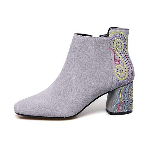 Martin Formales Botines De Alto Yan Boots Mujer Señora Tacón Para Cremallera Flor Gris Ante Invierno Zapatos Con Vestir Cordones xfwwt