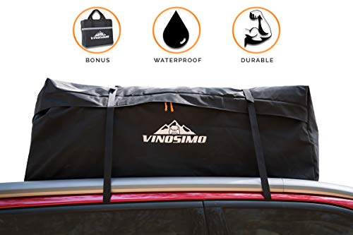 Vinosimo Car Rooftop Cargo Carrier Bag: 15 Cubit Feet, 100% Waterproof UV Nylon with Zipper, 4 Straps, and Carry Bag, Adjustable with or Without Racks