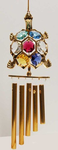 24K Gold Plated Wind Chime Sun Catcher or Ornament..... Turtle With Mixed Color Swarovski Austrian Crystal (Rhodium Turtle)