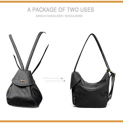 Black for Women's Backpack Girls Leather Autumn Backpack PU Multifunctional Purse Bag Shoulder Fashion xqU7HwxRT