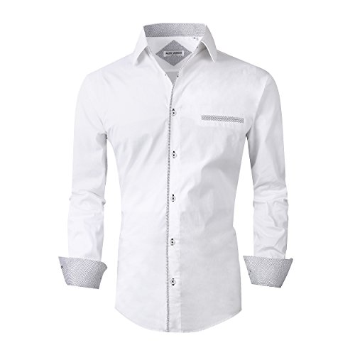 (Alex Vando Mens Dress Shirts Long Sleeve Regular Fit Casual Men Shirt(White,Large) )