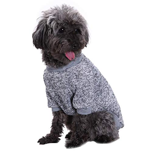 Fashion Focus On Pet Dog Clothes Knitwear Dog Sweater Soft Thickening Warm Pup Dogs Shirt Winter Puppy Sweater for Dogs Grey L