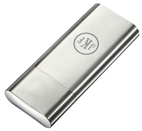 Personalized Visol Toledo Brushed Stainless Steel 2 Finger Cigar Case - Free Engraving (Roman Monogram)