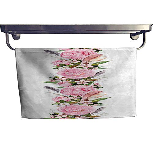 warmfamily Dry Fast Towel Floral Border with Pink Peony Flowers Cherry Blossom and Bird Feathers Repeating Boho Banner Watercolor Towel W 20