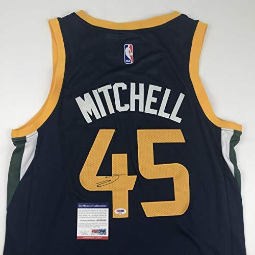 Autographed/Signed Donovan Mitchell Utah Blue Basketball Jersey PSA/DNA COA