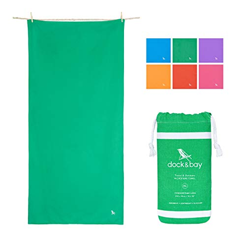 Dock & Bay Quick Dry Microfibre Travel Towel - Everglade Green, 63 x 31 - Travel, Shower & Fitness - Compact & Lightweight for Travel, Gym, Sports, Bath