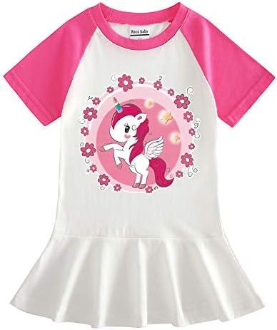 Chickwin Vestido para Niñas Verano, Impresión de Unicornio Vestir Infantil 100% Algodón Ropa Bebé Recién Nacido Infantil Casual Manga Corta Vestidos Bebe Niña Regalo para 2-5 Años
