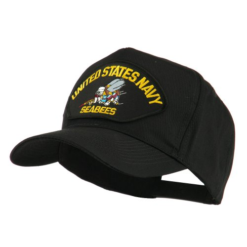 e4Hats.com US Navy Seabees Military Patched Cap - Yellow Seabees OSFM