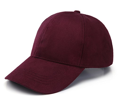 JOOWEN 6 Panel Faux Suede Leather Classic Adjustable Baseball Cap (Wine Red)