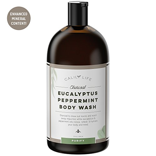 Calily Life Organic Detoxifying Charcoal + Eucalyptus + Peppermint Face and Body Wash, 33. 8 Oz. – Powerful Cleansing and Refreshing + Therapeutic, Invigorating & Relaxing [ENHANCED]