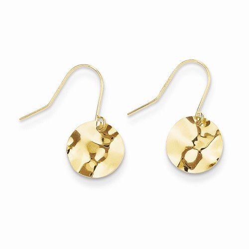 Solid 14k Yellow Gold Circle Hammered Dangle Studs Earrings (18mm x (Yellow Gold Hammered Earrings)