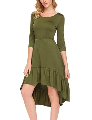 SE MIU Girls Party 3/4 Sleeve Cute Pleated A-Line Knee Length Casual Cotton Dress, Army Green, ()