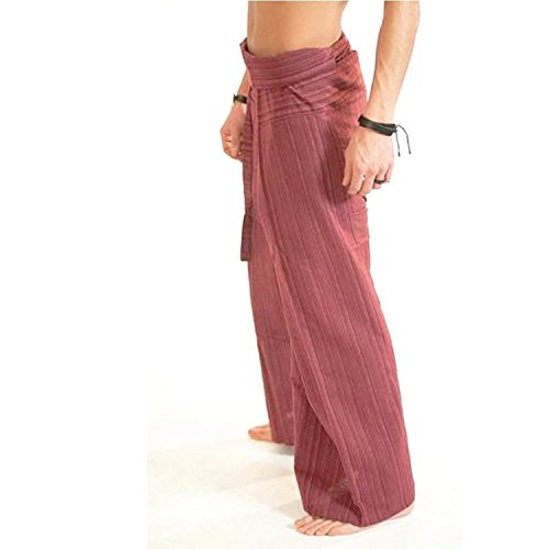 ''Clickthai'' ''Best Seller'' 100% Heavy Cotton Thai Fisherman Pants Yoga Pregnancy Pants (Brick Red line).. Free 1 Gift Wallet..!!. by ClickThai