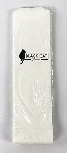 Black Cat Avenue 2-3/4' x 10' White Kraft Disposable Snack Bags For Churros, Petzel Rods, Silverware, 100-Pack