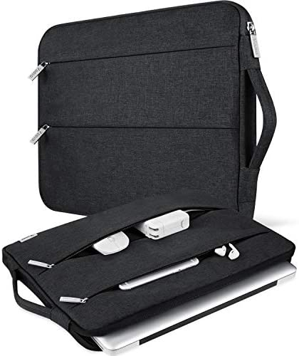 V Voova 13 13.3 Inch Laptop Sleeve Carrying Case Compatible with 13″ 2020 MacBook Air/MacBook Pro M1,Surface Book 2 13.5″,HP Envy 13 Chromebook Protective Slim Notebook Bags with Handle,Black