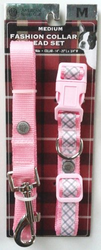 AKC Fashion Collar and Lead Set - Pink