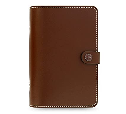 Filofax The Original Brown Personal Size Leather Organizer Agenda Diary Non Dated Calendar Notebook Ring Binder Planner with DiLoro Jot Pad Refills ...