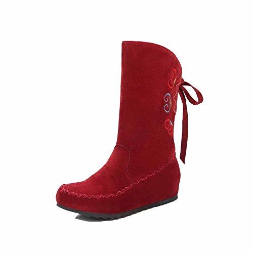 AgooLar Damen Ziehen auf Rund Zehe Niedriger Absatz Mattglasbirne Rein Stiefel, Rot, 44