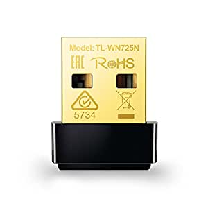 TP-Link TL-WN725N N150 USB wireless WiFi network Adapter for pc with SoftAP Mode - Nano Size, Compatible with Windows XP/7/8/8.1/10 - Mac OS 10.6~10.11 - Linux Kernal 2.6~3.16