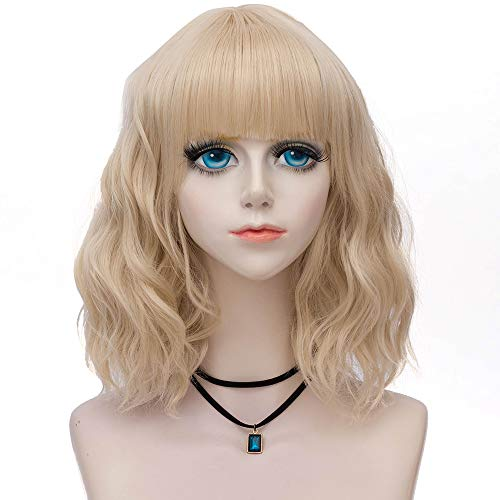 Probeauty Sweety Collection Lolita 40CM Short Curly Women Blonde Anime Cosplay Wig + Wig Cap (Blonde F11B)